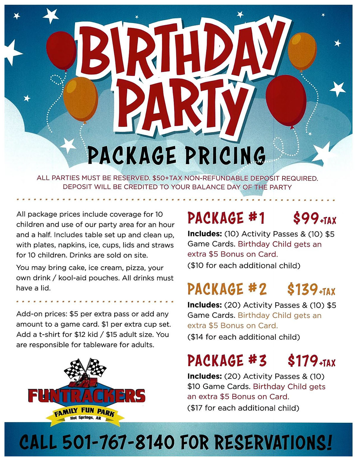 Funtrackers Birthday Party Package